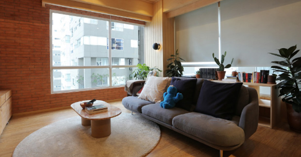 Interior apartemen dengan gaya Jepang