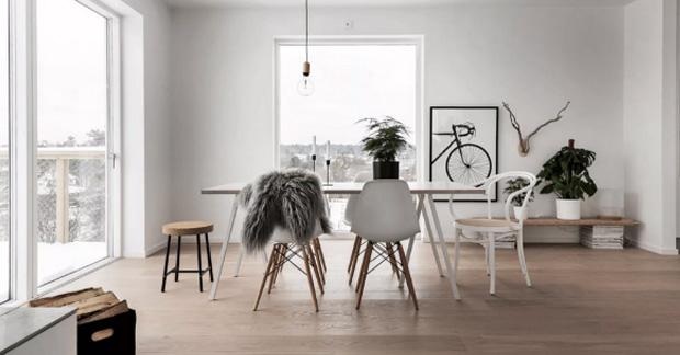 Interior apartemen dengan gaya Scandinavian