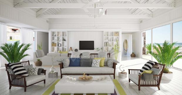 Interior apartemen dengan gaya rustic
