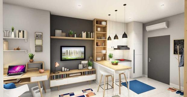 apartemen dengan furnitur gantung