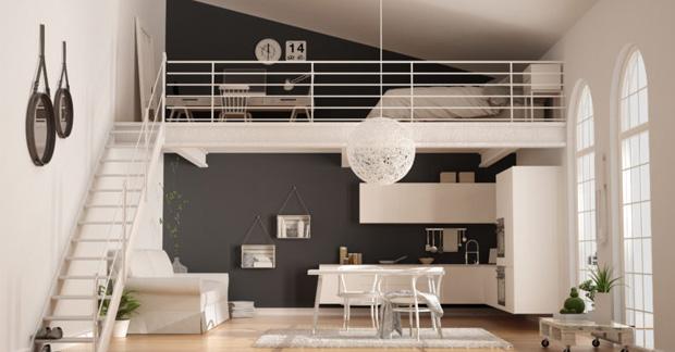 apartemen dengan tambahan setengah lantai