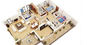 denah apartemen minimalis 1 kamar, yang mana pilihan anda?