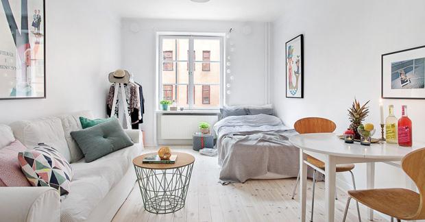 warna apartemen yang cerah dan netral